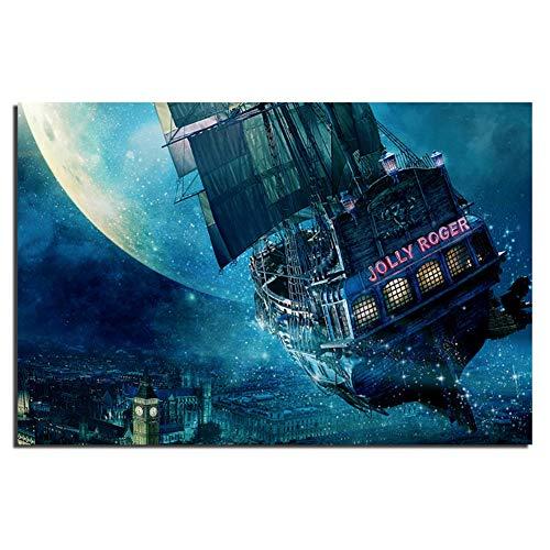 Jolly Roger Ship Peter Pan Movie Poster Doek Stof Print voor Home Decor Muurschildering Print op doek-60x100cm Geen Frame