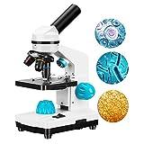 Kacsoo Set di microscopi per bambini 40-2000X, Set di Vetrini per Microscopio, Tre Lenti, Ergonomia Composta, Doppio illuminatore a LED, per Esperimenti Scientifici per Studenti,