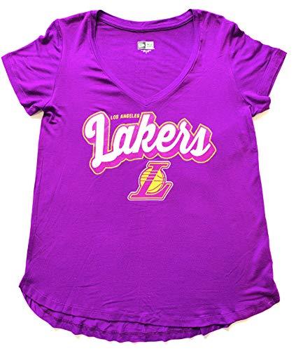 Small New Era Women's Laker NBA Purple V-Neck Tee Shirt