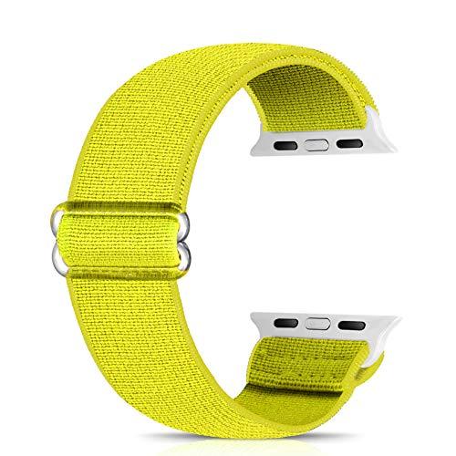 Ecogbd - Cinturino di ricambio elastico compatibile con Apple Watch Strap 38 mm, 40 mm, 42 mm, 44 mm, tessuto di nylon morbido, compatibile con iWatch Series 6, 5, 4, 3, 2, 1, SE(42 mm/44 mm, giallo)