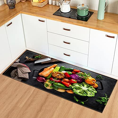 OPLJ Felpudo de Entrada Alfombra de Cocina para el hogar Dormitorio Balcón Decoración Alfombra de Piso Estampado patrón de condimento Alfombra Antideslizante A10 40x120cm