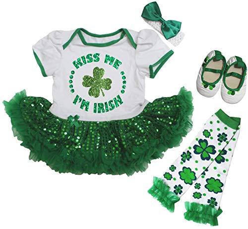 Petitebelle Kiss Me I'm Irish Trèfle Robe de Bébé Jambes Chaud Chaussures Nb-18m - Vert - L