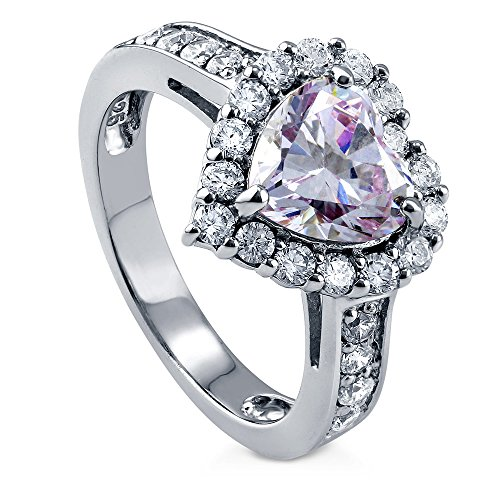 BERRICLE Rhodium Plated Sterling Silver Purple Heart Shaped Cubic Zirconia CZ Halo Engagement Ring 2.43 CTW Size 5