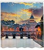 Italia Vaticano Roma Vista en la noche Famosa Basílica Lugar de interés de viaje destino azul rosa baño cortina de ducha Set de ganchos, cortina de poliéster impermeable regalo Festival