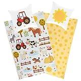 Aminata Kids Kinderbettwäsche 135x200 Jungen Mädchen Baumwolle Bauernhof-Tiere & Traktor mit...