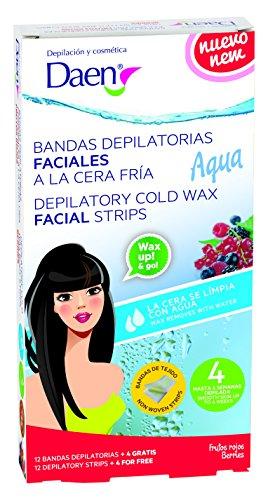 Daen - bandas depilatorias faciales cera fría frutos rojos - aqua.