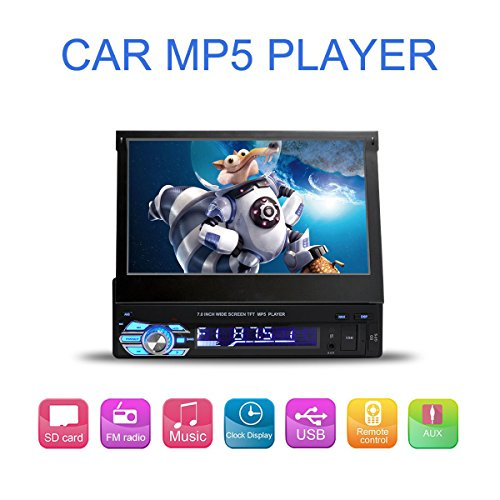 7 Inch Flip-Out HD TFT Touch Screen Single Din Car Stereo with Bluetooth AUX/USB/TF Car FM Radio Receiver MP3/MP4/MP5 Player Support Rear View Camera