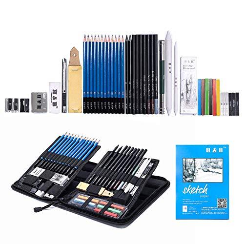 H&B Sketch Set di matite per artisti Kit da disegno in caso di cerniera con pad da disegno, tutti i materiali vari e materiali d'arte per la tua pittura (48 pezzi Advanced Pack).