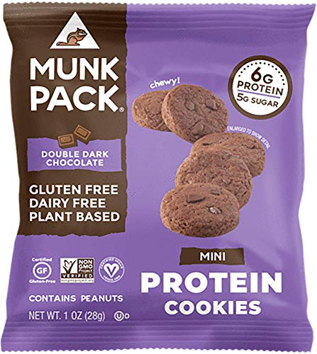 Munk Pack Mini Protein Cookies, Double Dark Chocolate, 8 Pack, 6 Grams of Protein, Cookie Snack Pack, Vegan, Gluten Free, Dairy Free, Soy Free, Chewy by Munk Pack