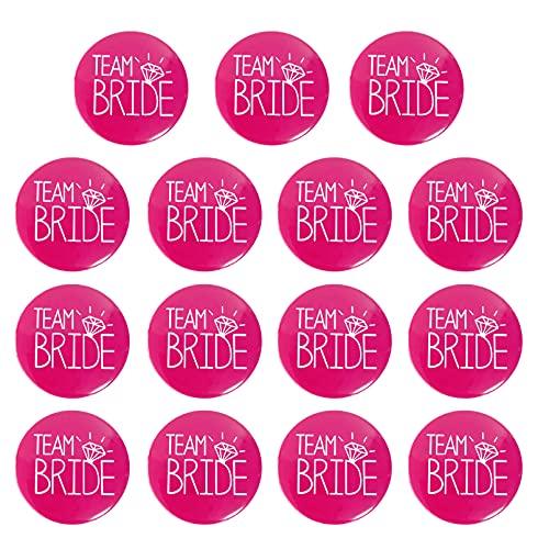 """15 PCS """"Team Bride"""" Spilla Addio al Nubilato Accessori Sposa Kit Badge Divertimento Matrimonio Nozze (Rosa)"""