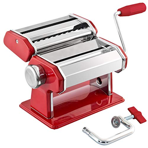 GOURMEX Stainless Steel Manual Pasta Maker Machine | With Adjustable Thickness Settings | Perfect...
