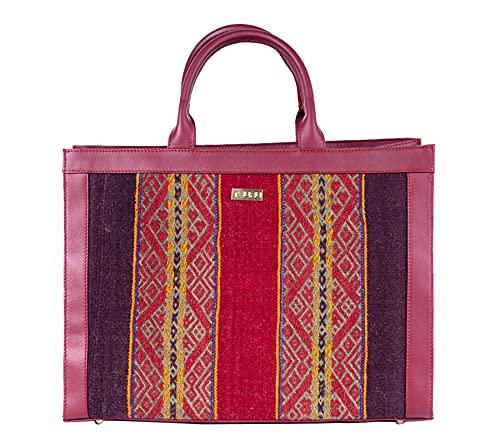 Tsuru Bolso Tote de piel suave de vacuno - hecho a mano - Con tejidos andinos - Color Burdeos. Bolso para portátil y trabajo - Made in Spain
