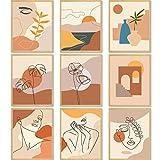 9 Stück Minimalistische Linie Wand Kunstdrucke Abstrakte