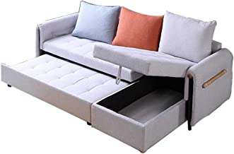 Convertible Corner Sofa Couch Sleeper - Luxury 3 Seater Sofa L-Shaped Sofa with Pull Out Bed and Large Storage Space - Fol...