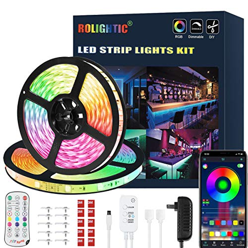 65.6FT LED Strip Lights, Ultra-Long Color Changing Light Strip with Remote, Music Sync, 600LEDs Bright RGB LED Lights, DIY Color Options Tape Lights with Power Adapter for Bedroom Ceiling Party