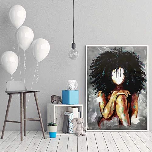 YUZE Pintura al óleo Abstracta Dama mágica sin Impresiones faciales y Carteles en Lienzo Cuadros de decoración Moderna para el hogar para Ropa de Cama Arte de la Pared de la habitación 20x24 Inch
