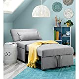 Sofa Bed, Convertible Chair 4 in 1 Multi-Function Folding Ottoman Modern Breathable Linen Guest Bed with Adjustable Sleeper for Small Room Apartment (Gray)
