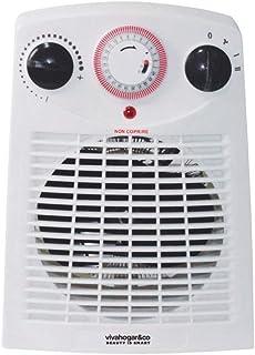 Vivahogar Calefactor Eléctrico Vertical con Termostato Temporizador Dos potencias 1000/2000W