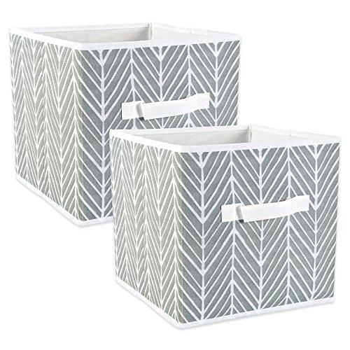 DII Polyester Herringbone Bin, Small Set, 11x11x11 Cube, Gray