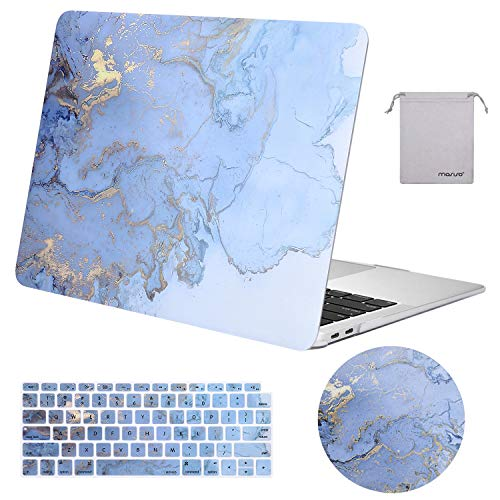 MOSISO Compatible with MacBook Air 13 inch Case 2020 2019 2018 Release A2337 M1 A2179 A1932 Retina Display with Touch ID, Plastic Watercolor Marble Hard Shell&Keyboard Skin&Mouse Pad&Pouch, Blue