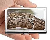 Titular de la tarjeta del nombre del negocio Cartera, Leopard safari áfrica Kenia Estuche para tarjetas de visita de acero inoxidable