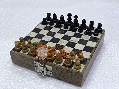 5' Marvelous Chess Board Mosaic Gemstone Case Stone Art Veterans Gift