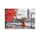 Póster artístico de Londres Big Ben con diseño de paraguas rojo y flores, impresión artística de pared, diseño moderno para dormitorio familiar de 50 x 75 cm