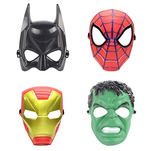 Coolgu Kids 4 Pcs Avengers Heroes Masks Cosplay Boy Girl Toy Hulk, Spider-Man, Iron Man, Batman- Great Halloween Mask