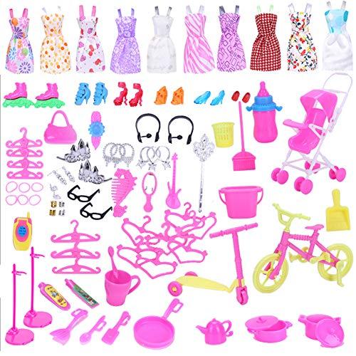 WENTS Accesorios para muñecas Accesorios de Vestir para Las Muñecas 10pcs Verano Faldas Vestidos 98 Accesorio de muñecas Diferentes Modelos Mixed Color Talla Zapatos Perchas