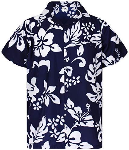 King Kameha Funky Hawaiian Shirt, Shortsleeve, Hibiscus, Navyblue, M