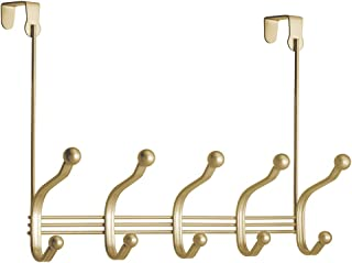 iDesign York Lyra Over the Door 10-Hook Rack for Coats, Hats, Robes, Towels - Pearl Brass