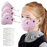 IUTE 3 𝘔ascarillas Algodon Lavables para Niños con 6 Filtros, Faciales Protectoras Lavables (Rosa)...