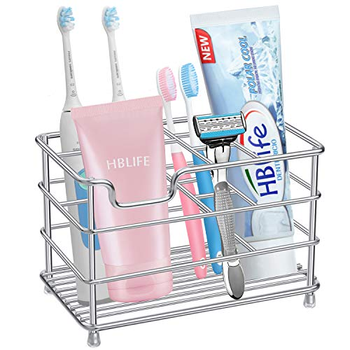 HBlife Large Electric Toothbrush Holder for Bathroom, Silver Stainless Steel Bathroom Accessories Organizer for Small Spaces