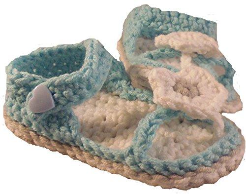 Babyschuhe - Flip - Flops Zehentrenner Sandalen gehäkelt gestrickt Gr. 16/17 (Hellblau)
