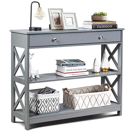 Giantex Console Table 3-Tier W/Drawer and Storage Shelves, X-Design Entryway Table for Hallway, Living Room and Bedroom Sofa Side Table (Gray)
