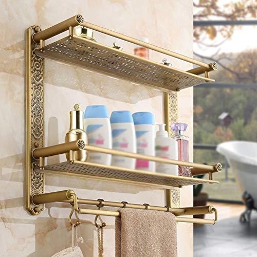 ZhanMa Toallero Accesorios de baño Retro Sólido Antiguo Latón Acabado Estantes de baño Estante de Ahorro de Espacio de Pared (Color : 2tiers, Size : 40cm)