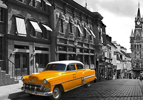 wandmotiv24 Fototapete Taxi Stadt London S 200 x 140cm - 4 Teile Fototapeten, Wandbild, Motivtapeten, Vlies-Tapeten Oldtimer, Auto, England M1306
