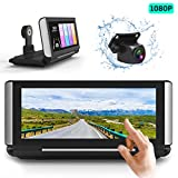 FHD 1080p Backup Camera kit with Dual Recording High-Speed Observation for Car Truck RV Trailer Bus Vans Campers,and 7 inch on Dash Full Touch Screen Front and Rear View 49.2ft Long Wired