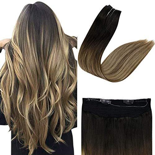 Easyouth Invisible Wire on Extensions Cheveux Naturel Halo Color Noir à Brun Moyen et Blond Miel Hair Wire on Extensions Remy Human Hair 12pouce 70g