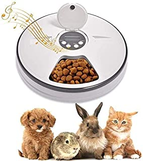 O9 O-Nine Automatic Cat Feeder with Digital Timer, Automatic Pet Feeder Animals Food Dispenser with 6 Meals Suitable Wet &...