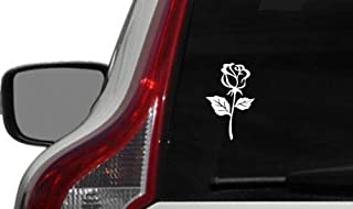 Flower Rose Version 9 Car Vinyl Sticker Decal Bumper Sticker for Auto Cars Trucks Windshield Custom Walls Windows Ipad Macbook Laptop and More (WHITE)