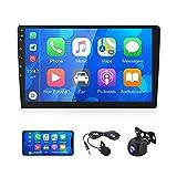 CAMECHO Radio Coche Bluetooth 2 DIN con Carplay/Android Auto + iOS/Android Enlace Espejo FM Radio 9 Pulgadas Pantalla Capacitiva de Alta Definición+ Doble USB + Micrófono Externo + Cámara Trasera