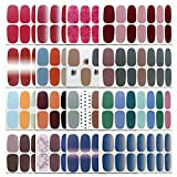 16 Sheets Gel Nail Art Polish Stickers Decal Solid Color Nail Wraps Nails Strips...