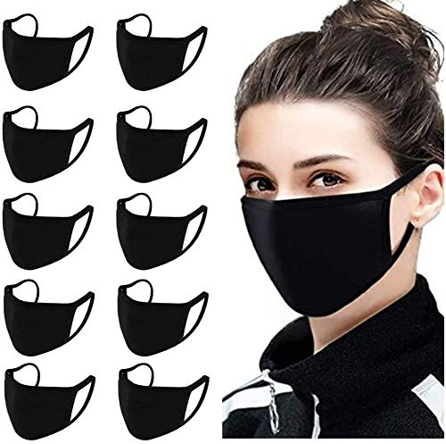 Breathable face mask Made in USA 100% Purified Cotton 3Ply Black Color Washable & Reusable Protection Mouth Covers Pack of 15 & 20