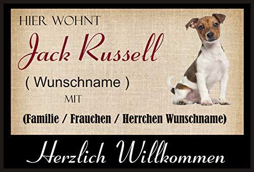 Crealuxe Fussmatte/Hundemotiv - Herzlich Willkommen/Hier wohnt Jack Russell (Wunschname) mit Familie (Wunschname) - Fussmatte Bedruckt Türmatte Innenmatte Schmutzmatte lustige Motivfussmatte
