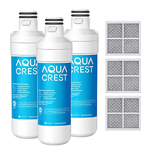 AQUACREST LT1000PC ADQ747935 MDJ64844601 NSF Certified Refrigerator Water Filter and Air Filter, Replacement for LG LT1000P, LT1000PC, LT-1000PC and LT120F, 3 Combo