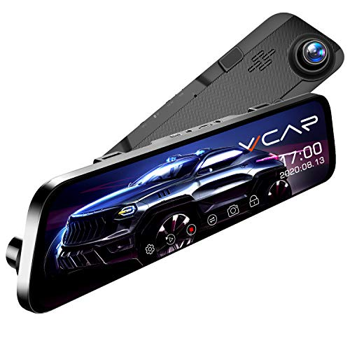 "VVCAR 12"" Mirror Dash Cam 1296P Backup Camera with GPS Touch Screen Front and Rear View Dual Lens Full HD WDR Night Vision, G-Sensor for Cars/Trucks"