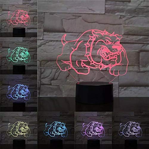 Spiked Dog 3D Lamp Illusion Night Light LED Bulb Multicolor Atmosphere Lampara Bedside Christmas Kid Toy
