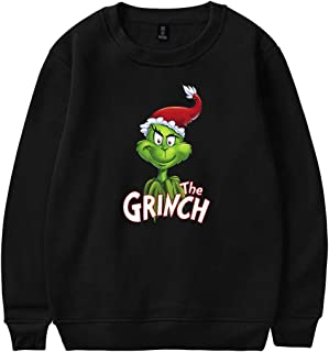 KIACIYA Felpa Grinch Adulto Felpa Grinch Bambino Felpa con Cappuccio Hoodie Hooded Pullover Felpa Natale Donna Uomo Sweater Ragazzo Sweatshirt Maglione Maniche