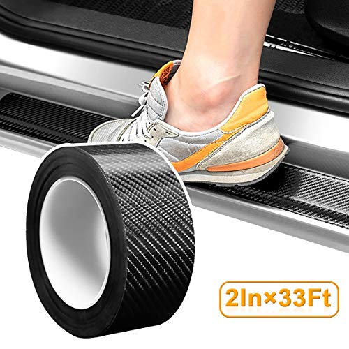 VUAOHIY Car Door Edge Guard Protector Carbon Fiber Car Wrap Film 5D Protection Film Anti-Collis Auto Door Sill Anti-Scratch Self-Adhesive Seal Protection Film Fits for Most Car (2In x 33Ft)